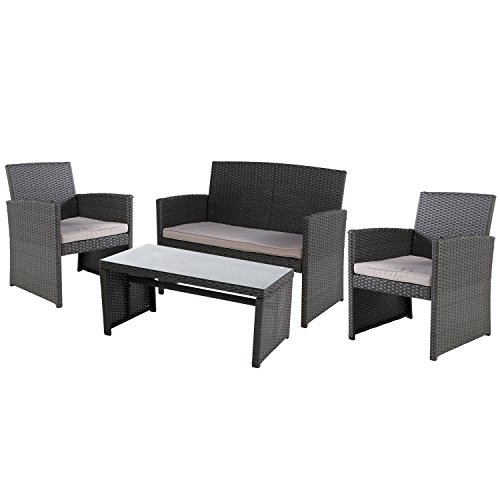 Grand patio Modern Outdoor Garden, Patio 4 Piece Seat - Wicker Sofa Furniture Set (Black)