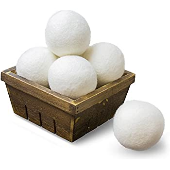 SnugPad Wool Dryer Balls by 6-Pack, XL Size Premium Reusable Natural Fabric Softener