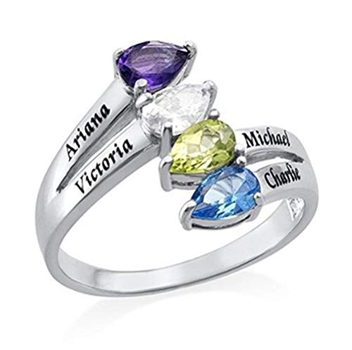 Personalized Birthstone Rings 10 Simulated Hearts Promise Rings for Name Rings(6,Silver-Plated-Base) ()