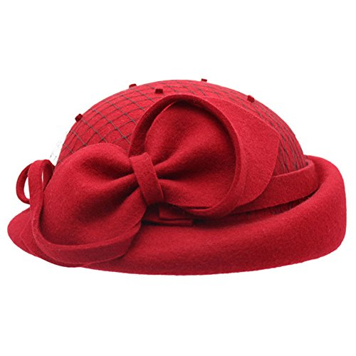 AYUBOOM Women's Wool Felt Elegant French Style Beret Warm Slouch Hat Cap (Red)