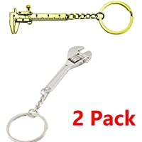 Mini Key Chain With 1PCS Caliper And 1Pcs Wrench Zinc Alloy Special Simulation Model Free size(A+B)