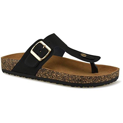Premier Standard Women's Comfort Low Easy Slip On Sandal – Casual Cork Bottom Platform Sandal Flat – Open Toe Slide Shoe, TPS Slides-002Yrolg Black Size 7