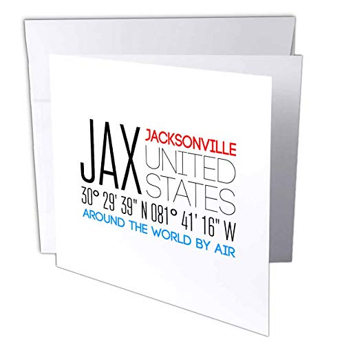 - 3dRose Alexis Design - Around The World by Air - Beautiful Text Jax, Jacksonville, United States, Location Coordinates - 6 Greeting Cards with envelopes (gc_311090_1)