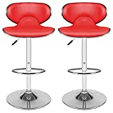 1 Pair Kitchen Breakfast Bar Chrome Base Adjustable Lift Faux Leather Swivel Chair (Red)