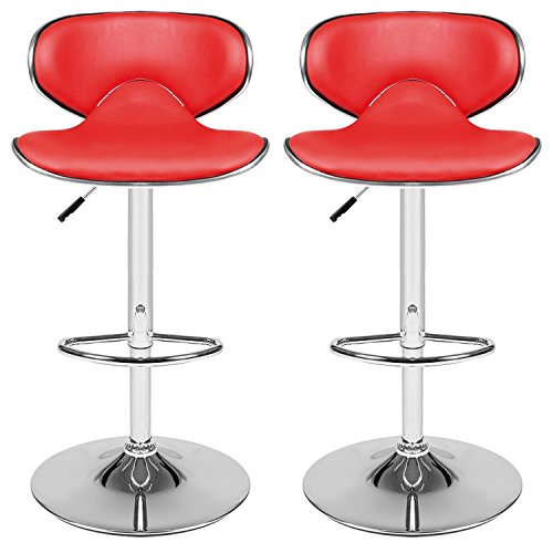 1 Pair Kitchen Breakfast Bar Chrome Base Adjustable Lift Faux Leather Swivel Chair (Red) by Cosway