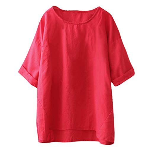 Nihewoo Women T Shirt Plus Size Tops Summer Blouse Cotton and Linen Tunic Solid Vintage Tees Loose Pullover Shirts Red