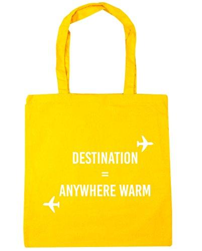 HippoWarehouse destino cualquier lugar cálido Tote Compras Bolsa de playa 42cm x38cm, 10litros amarillo