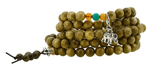 Tibetan Zen Buddhist Wooden 108 Yoga Meditation Mala Prayer Beads Wrap Bracelet (Wooden Monk Beads)