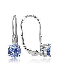 Sterling Silver 1.8Ct Tgw Tanzanite 6MM Round Leverback Earrings