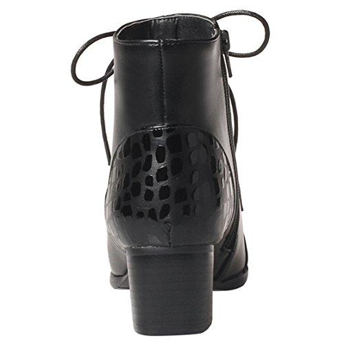 AIYOUMEI Damen Chunky Heel Stiefeletten mit Schnürung und 5cm Absatz Herbst Winter Kurzschaft Stiefel Schwarz