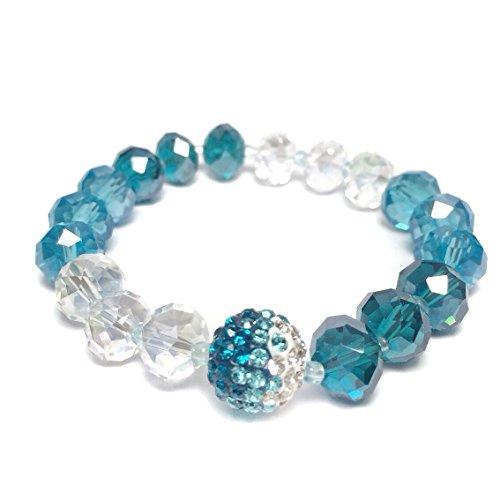 Blue Tones Clear Ombre Glass Beaded Rhinestone Fancy Stretch Bracelet by Gypsy Jewels