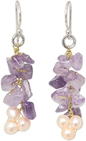 NOVICA Amethyst Cream Cultured Freshwater Pearl Sterling Silver Beaded Earrings 'Afternoon Lilac'