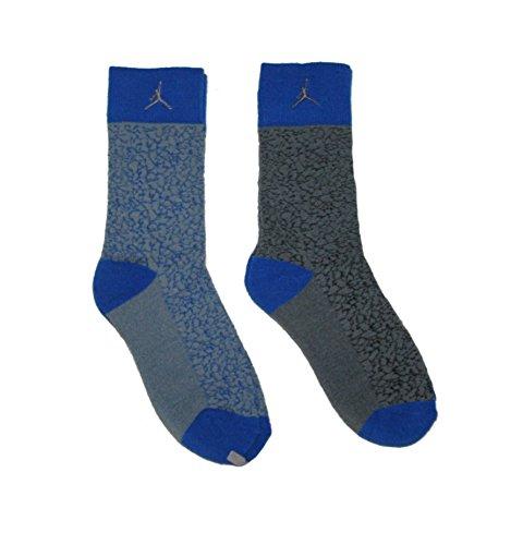 Nike Air Jordan 2 Pairs/Pack Kids Crew Socks, Youth, Grey/Blue, 5Y-7Y