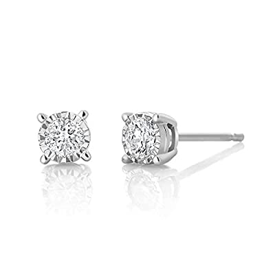 IGI Certified 0.20cttw Illusion Set Round Diamond Stud Earrings 10K White Gold