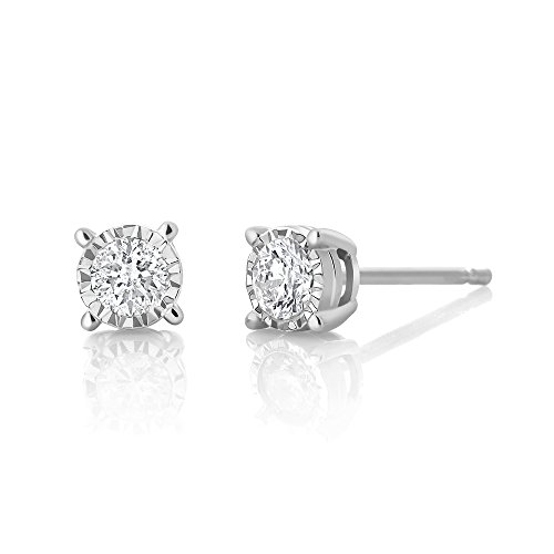 - Gem Stone King 10k White Gold Diamond Stud Stud Earrings Illusion Set Round Cut with IGI Certificate 0.20 Carat Total Weigh