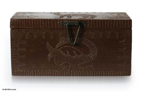 NOVICA Animal Themed Wood Jewelry Box, Brown, Sankofa Adinkra (Sankofa Bird)