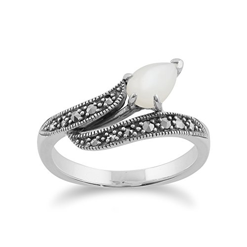 Gemondo Marcasite Ring, 925 Sterling Silver 0.6ct Mother of Pearl & Marcasite Art Nouveau Ring