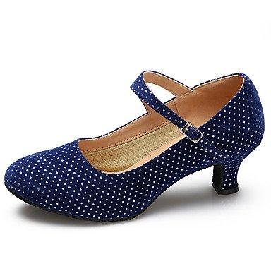 XIAMUO Tanz Schuhe Wildleder/Lackleder Wildleder/Lackleder Latin/Moderne Heels Stiletto Heel Praxis/IndoorBlack, Schwarz, EU/US8.5 39/UK6.5/CN 40