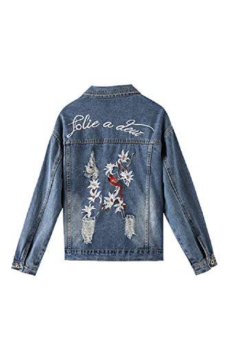 Vintage Hipster Manica Femminilità Outerwear Giovane Giacche Autunno Puro Giacca Jeans Donna Giaccone Unico Primaverile Elegante Colore Tasche Women Yasminey Con Casual Strappato Lunga Fashion Blau Button 8vaIxwnpq