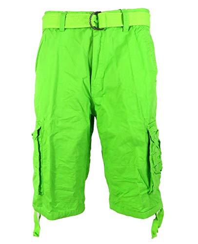 Tank Men's Light Twill Cargo Shorts, Lime, 36