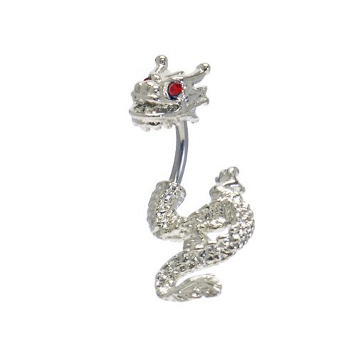 Red Cubic Zirconia DETAILED DRAGON 2 piece split Belly button Navel Ring 14 gauge