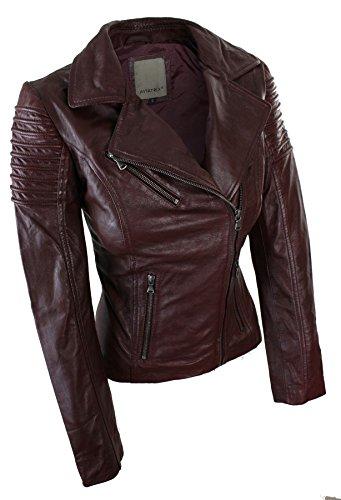 Blouson Coupe Femme Style Cuir Véritable Cintrée Biker Bordeaux Slim Aviatrix w1qfw