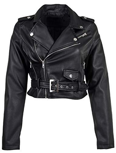 Women's Juniors Fashionable Cropped Faux Leather Moto Biker Jacket in Black Size S
