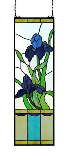 (Yolic Rural Vintage Tiffany Style Stained Glass Panels Church Art Glass Decorative Flowers Rectangle Window Hanging Glass Panel Suncatcher, Large Size Traosm Window 32