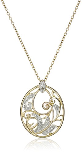 18k Yellow Gold Plated Sterling Silver Diamond Accent Filigree Oval Pendant Necklace, 18