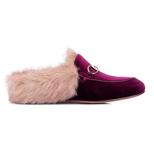 Enmayer Donna Mocassini Moda Retrò Nero Punta Rotonda Slip On Flat Pantofole Outdoor Con Furry E Fibbia Vino Rosso (velluto)