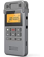 COOAU Grabadora de Voz Digital Portátil, 16GB Recargable Carcasa Metálica con Grabación de Micrófono Doble Clara, Clara Grabación, Activada por Voz, Conexión a PC, MP3, Memoria USB