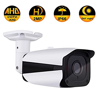 CCTV Security Bullet Camera, 2.0MP 3 in 1 (AHD/TVI/CVI) IR night vision HD 1080P surveillance analog 3.6mm Outdoor/Indoor IP66 camera (Not compatible with POE) from ZY