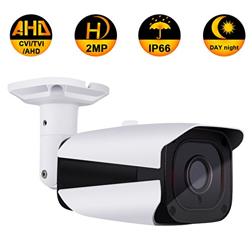 Security Bullet Camera, ZY 2.0MP 3 in 1 (AHD/TVI/CVI) IR night vision HD 1080P surveillance analog camera 3.6mm lens ICR auto day night wide angle Outdoor/Indoor IP66 camera (Not compatible with POE)