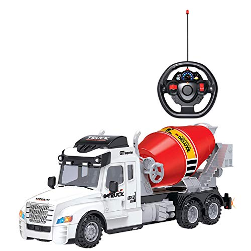 (Toy Chef Remote Control Truck RC Toy for Kids Aged 3+, Lights, , Realistic Excavator Truck Design, Full Range of Motion - Battery Operated, Strong and Safe ABS Plastic (Cement Mixer Truck) )