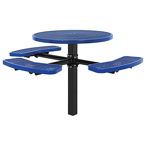 "46"" ADA Round Picnic Table, In-Ground Mount, Blue"