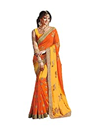 Indian Fashion Indian Women Designer Party wear Orange and Yellow Color Saree Sari