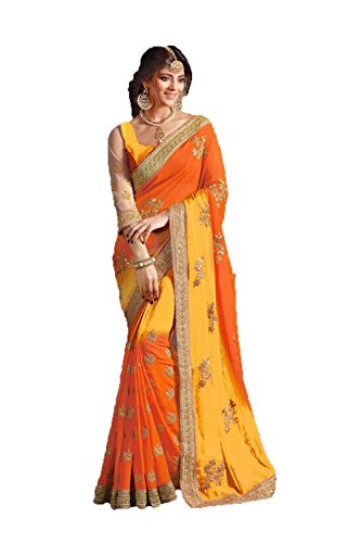 India Saree (Indian Fashion Indian Women Designer Party wear Orange and Yellow Color Saree Sari)