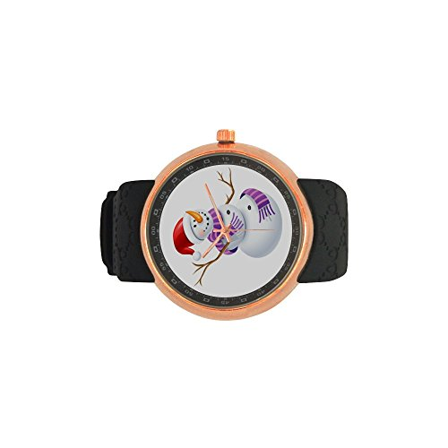 Novelty Gift Merry Christmas Snowman Men's Rose Gold Plated Resin Strap Watch by Snowman Watch (Image #3)