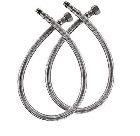 1/2-Inch Faucet Connector Braided Stainless Steel Supply Hoses, 24-Inch Long Faucet Hose Replacement Pack of 2(1 Pair)