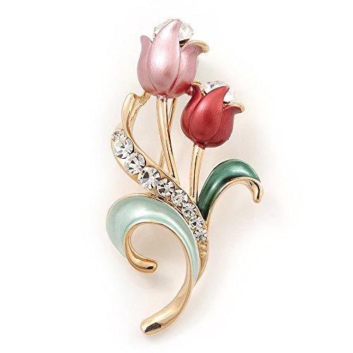 (Pink Enamel Diamante 'Tulip' Brooch In Gold Finish - 5cm Length)