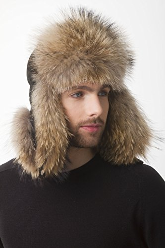 (Raccoon Fur Aviator Hat Suede Saga Furs For a Mens)