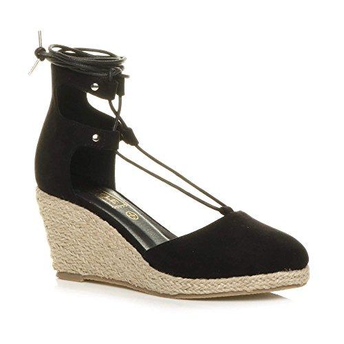 Damen Mitte Keilabsatz Fesseln Binden Gillie-Schuh Espadrilles Sandalen Größe Schwarz Wildleder
