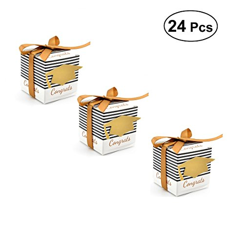 JANOU Graduation Gift Paper Candy Boxes DIY Congrats Cap Stripes Cardboard Sweet Boxes with Ribbons for Graduation Ceremony Party Favors Pack 24pcs -