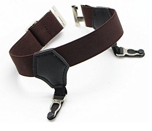 JAIFEI Premium Sock Garters - 2-Pack Double Sturdy Clip Sock Suspenders For Silk Socks (Coffee) by JAIFEI (Image #2)