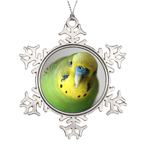 Tlbfresapo6 Personalized Family Christmas Snowflake Ornaments Cute green and yellow male parakeet Christmas Tree Decor Parakeet