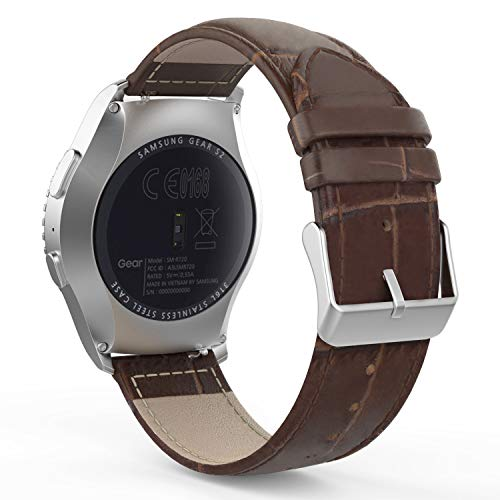 MoKo Band Compatible with Samsung Gear S2 Classic/Galaxy Watch 42mm/Galaxy Watch Active/Gear Sport/Garmin Vivoactive 3/Forerunner 645, Leather Crocodile Pattern Replacement Strap - Brown
