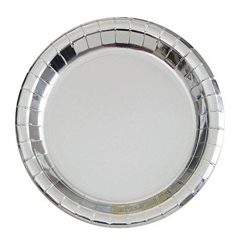 Foil Silver Paper Plates, 8ct