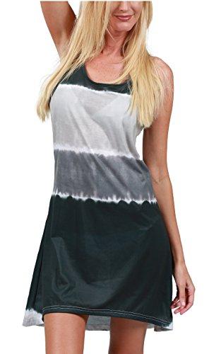Buy black and grey tie dye dress - 7