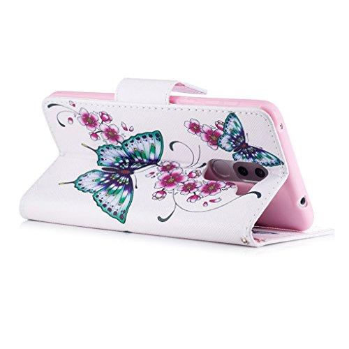Trumpshop Smartphone Carcasa Funda Protección para Huawei Honor 6X + Lirio + PU Cuero Caja Protector Billetera con Cierre magnético [No compatible con Honor 6A y 6C] Dos Mariposas