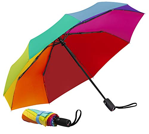 Repel Windproof Travel Umbrella with Teflon Coating (Rainbow)